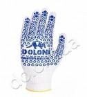 520 Р Перчатки Ladoni белые с синим ПВХ 10 класс