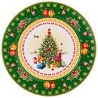 """85-1605 Тарелка закусочная """"С Новым Годом!"""" Елка (зеленая)"""