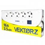 003630 Фильтр сетевой VEKTOR Z 5.0м, 4роз с/з+1роз б/з