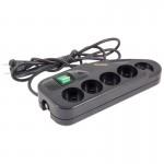 004416 Фильтр сетевой VEKTOR LITE 1.8м/5роз, б/з черный