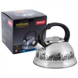 002102 Чайник металлический со свистком Mallony MAL-0417A / MALLONY